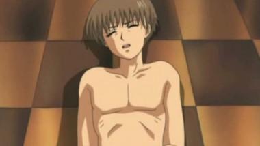 Hot anime slut with milky boobs doing blowjob