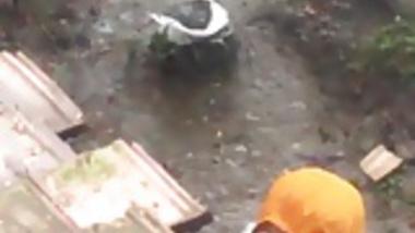 Bhabhi Bath in Backyard