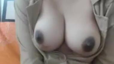 Topless hottie having fun in her office