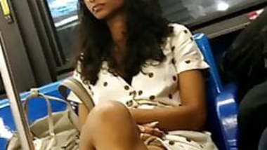 Cute skinny Indian guianesse girl nice legs on the bus